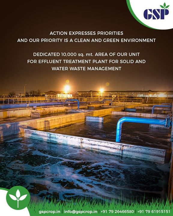 Being a registered member of Common Effluent Treatment Plant (CETP) of the Regional Industries Association, we have dedicated 10,000 Sq.mt. area of our unit to carry out Effluent Treatment of the Solids and Waste Water adhering to and practicing the best International Standards.  Our state of the art facilities includes: -> 400KL Effluent Treatment Plant with 250 PPM COD. -> 500MT Solid Waste Storage System. ->Adequate Provisions of Scrubbers on Reactors to ensure Zero Air Pollution. -> 150KL per day capacity Multi-Stage Evaporator. -> 100KL per day capacity Spray Dryer. -> In addition, we strictly adhere to the Safety Norms in all our production units and conduct regular health checkups of our workers.  We deliver training, coaching, and development of the staff for industrial and environmental safety and labor protection.  #GSPCropSciencePrivateLimited #GSP #GSPCrops #GSPCropsScience #Insecticides #Fungicides #Herbicides #PlantGrowthRegulators #Agriculture