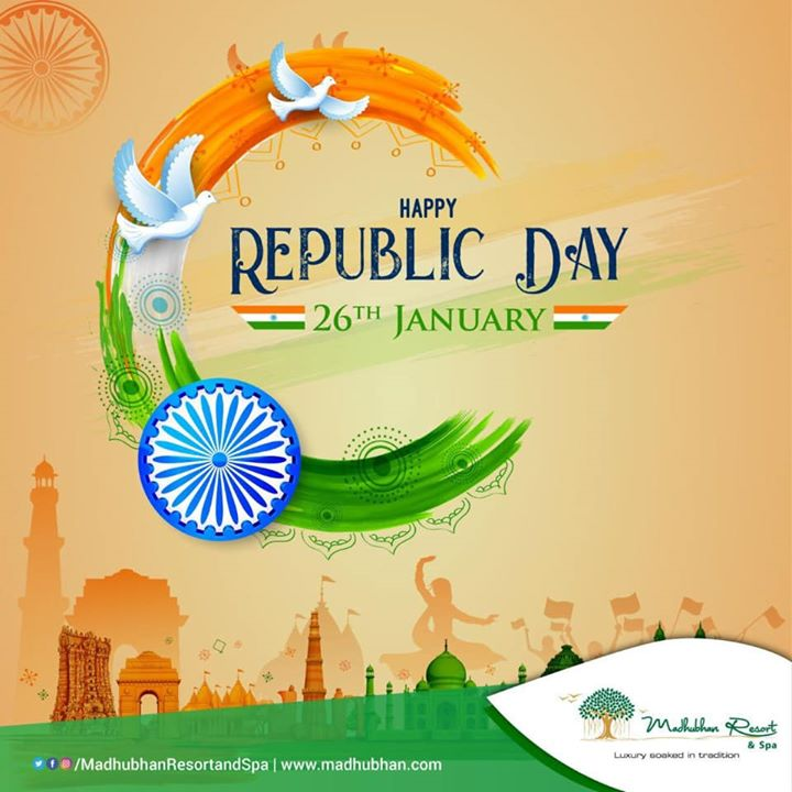 #MadhubhanResortandSpa wishes all fellow Indians a Happy 71st Republic Day!  #republicdaycelebration #republic #india #indian #republicday2020 #patriot #patriotism #unity #jaihind #proudindian