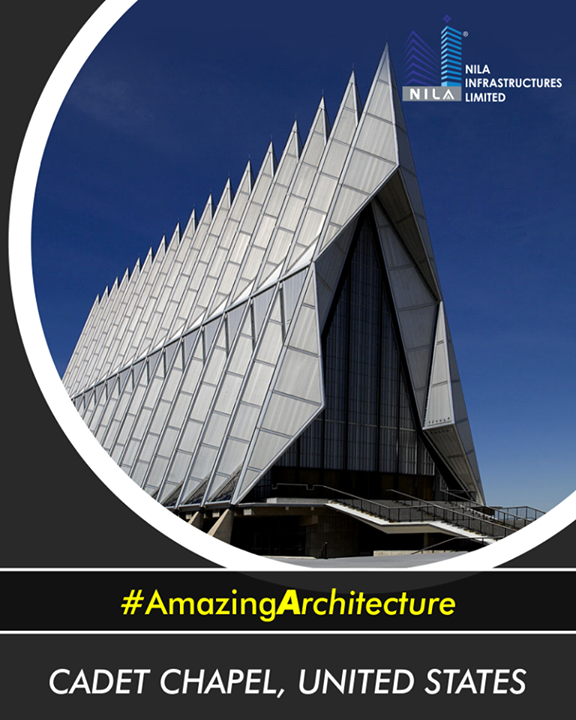 The striking appearance of the Air Force Academy Cadet Chapel in Colorado Springs, Colorado is considered one of the most beautiful examples of modern American architecture. The striking exterior of the Cadet Chapel, made of steel, aluminum and glass, has 17 pointy spires resembling fighter jets soaring up to the sky.  #AmazingArchitecture  #NilaInfrastructure #Realestate #BuildToTransform #Surat #Ahmedabad