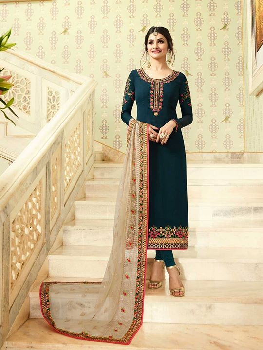 Buy online latest ethnic wear blue straight salwar kameez suit featuring embroidery work. Check these most popular georgette straight salwar suit offered at best price. https://bit.ly/2Jw2KAg #bluesalwarsuits #salwarkameez #freeshipping #partywear #festivecollection #salwarsuit #eidcollection #indianoutfits #inidanwear #ethnicwear