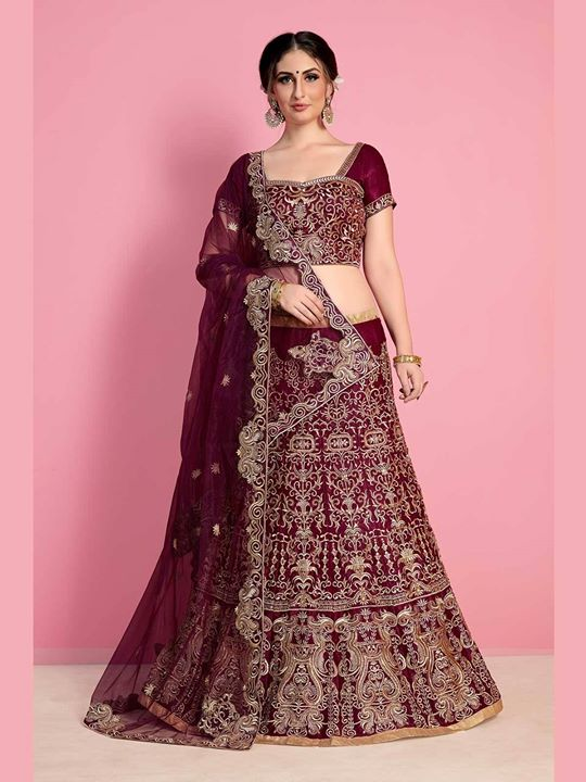 Shop wine color bridal wear designer lehenga choli online at most affordable prices. ZaraaFab is a favorite online shopping destination for ethnic wear and indian fashion. https://bit.ly/2MrPqyk #bridallehenga #weddingwear #lehengacholis #lehengaonline #indiandress #designerwear #ethnicwear #onlineshopping #weddingcollection #shipping #UK #USA #Germany #Canada #Denmark #Sweden