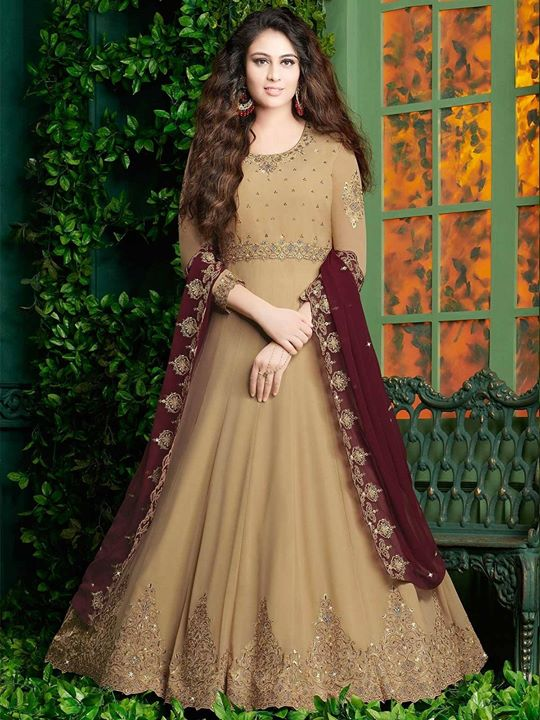 Shop beige embroidery work designer floor length georgette salwar kameez suit online from ethnic clothing store. Find latest collection of Indian designer anarkali dresses at best price. https://bit.ly/2CXHsaY #anarkali #salwarkameez #indianfashion #indianwear #salwarsuit #ethnicwear #freeshipping #diwalispecial #partywear #festivecollection #indianclothes #weddingwear