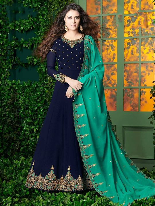 Blue designer floor length embroidered anarkali salwar suit online shopping at a discounted price from ZaraaFab. Buy elegant designer salwar kameez for party wear with custom stitching and worldwide shipping. https://bit.ly/2CXHsaY #salwarkameez #indianfashion #ethnicwear #puregeorgette #salwarsuit #embroidery #suitpieces #dressmaterials #festivalwearspecial #designerdresses #womenswear #indiancouture